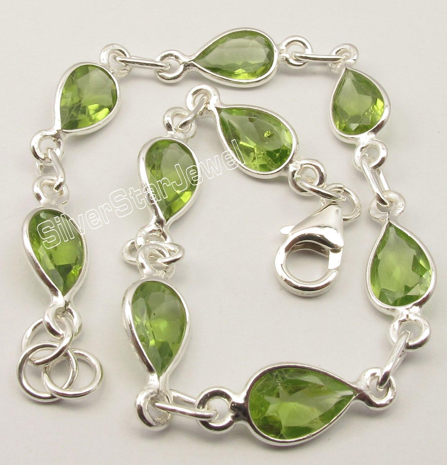 Chanti International Pure Silver GREEN CUT PERIDOT MODERNISTIC New Bracelet 21.2 CM JEWELRY STORE