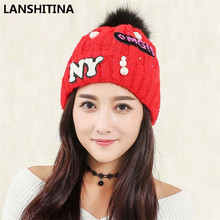 2017 Brand New Women Knitted Hats Winter Keep Warm Wool Cap Knitted Beading Caps Ear Plus Velvet Hat Adult Casual Beanies