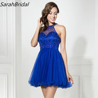 In Stock Royal Blue Short Prom Dresses 2017 High Collar Beading Homecoming Dresses Party Cocktail Dresses
