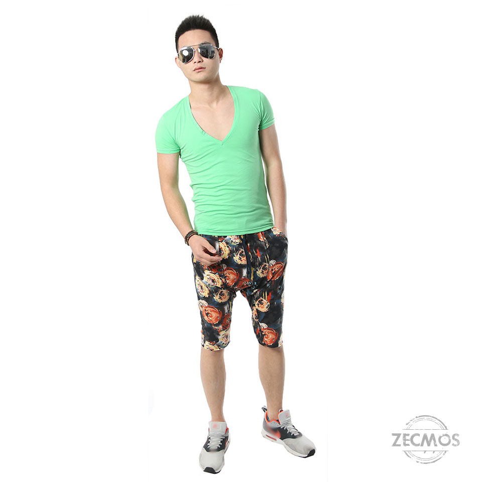 Zecmos Deep V Neck Sexy Men T-Shirt Vintage Short Sleeve Solid Color Muscle Fit T Shirt Men Top Tees Fashion 51
