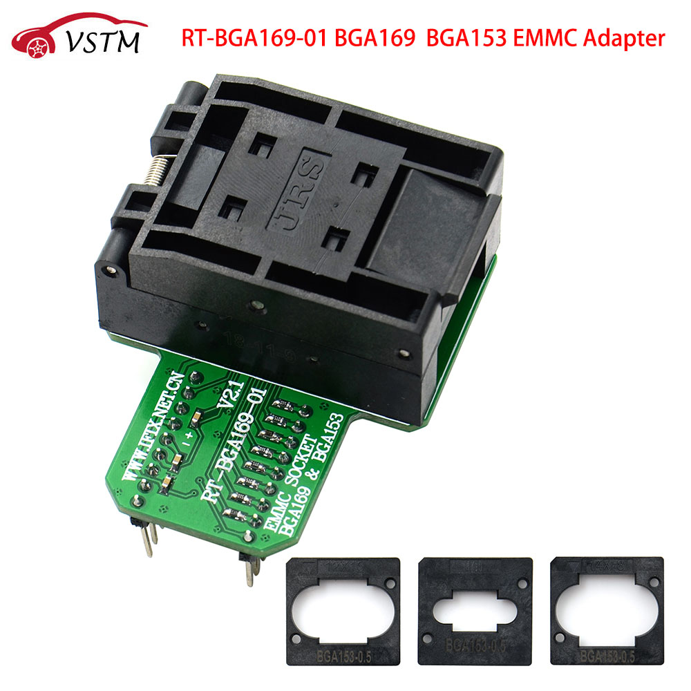 RT-<font><b>BGA169</b></font>-01 V2.1 EMMC Seat EMCP153 EMCP169 <font><b>Socket</b></font> for RT809H Programmer 11.5*13mm Add more 3 pcs Matrix image