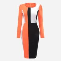 Vintacy Fashion Color Block Bodycon Dress Knee Length Slim Office Lady Winter Dress Autumn Long Sleeve