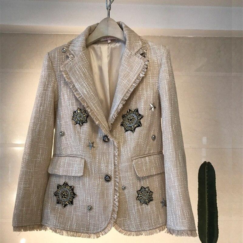 Handmade 2018 Runway Designer Luxury Fashion Blazers British Vintage Beading Tassel Badge Tweed Blazers