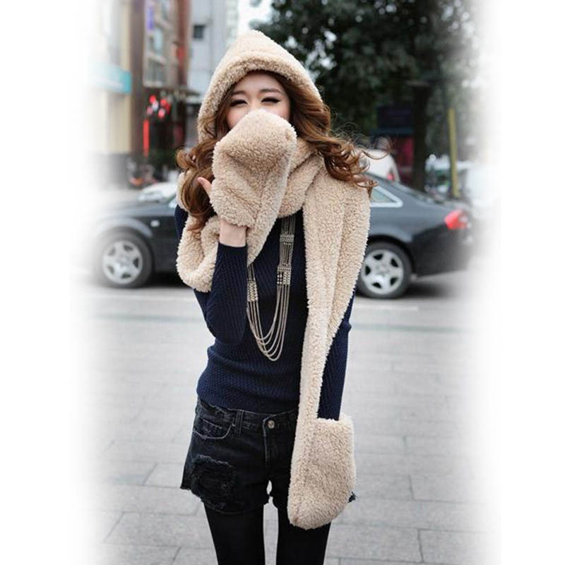3 In 1 Women Autumn Winter Warm Plush Hood Scarf Snood Thicken Hats Gloves SSA-19ING