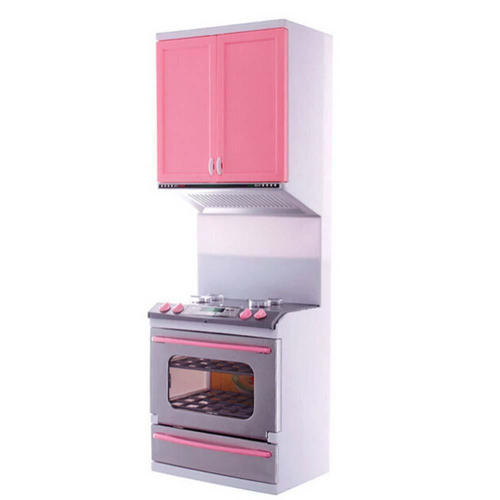 1 set Kid Kitchen Pretend Play Cook Cooking Set Pink Cabinet Stove ...