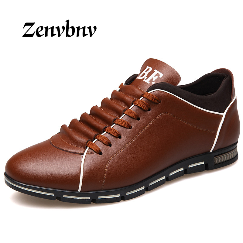 ZENVBNV Brand Men Shoes England Trend Casual Leisure Shoes Leather Shoes comfortable Male Footear Loafers Men Plus size 38-48