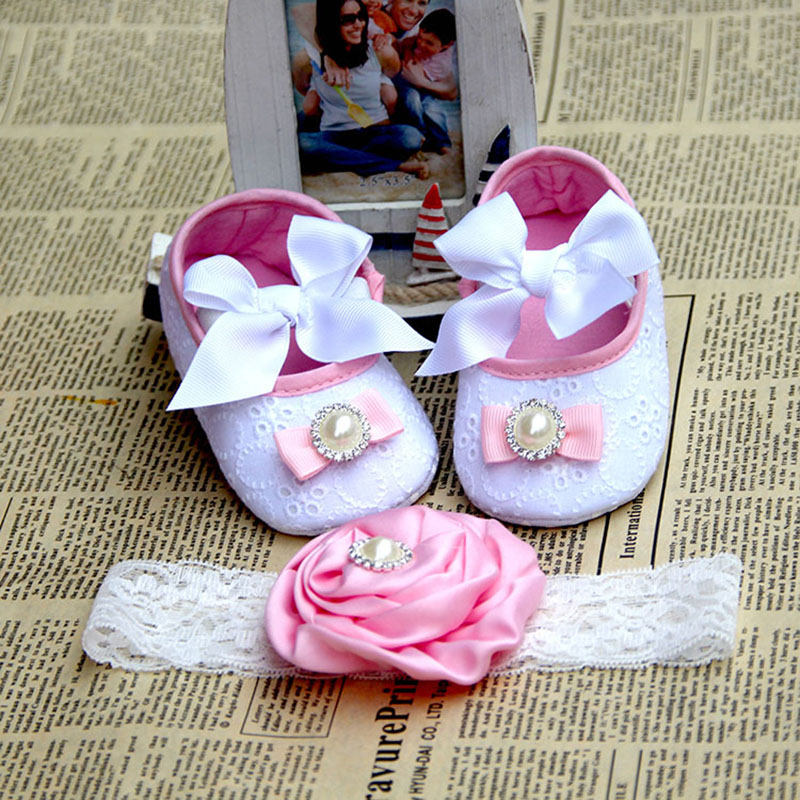 Christening Baptism Newborn Girl Shoes Headband Set Fabric Toddler Baby Booties Soft Sole Baby Slippers Girls Baptismal Shoe