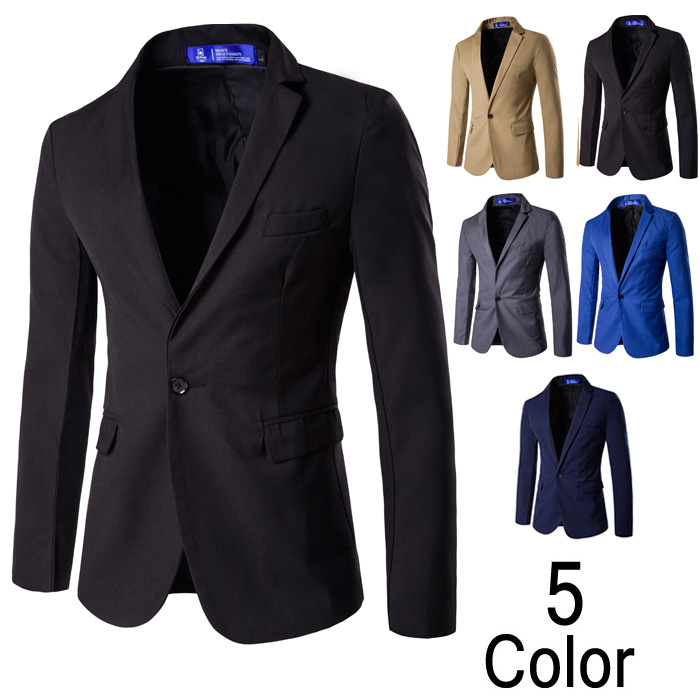 2018 Business Casual Style Mens Suite Long Sleeve Single Button Male Blazers Spring Solid Color V-neck Mens Suit for Groomsman