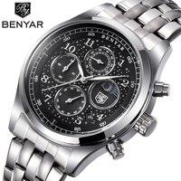 BENYAR Mens Watches Top Luxury Moon Phase Full Steel Quartz Chronograph Watch Sports Military Waterproof Wrist