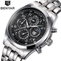 BENYAR Mens Watches Top Luxury Moon Phase Full Steel Quartz Chronograph Watch Sports Military Waterproof Wrist
