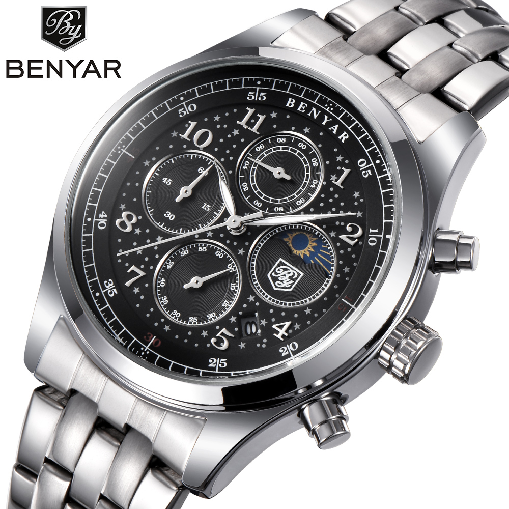BENYAR Mens Watches Top Luxury Business Watch Moon Phase Full Steel Quartz Chronograph Sport Military Watch Support dropshipping
