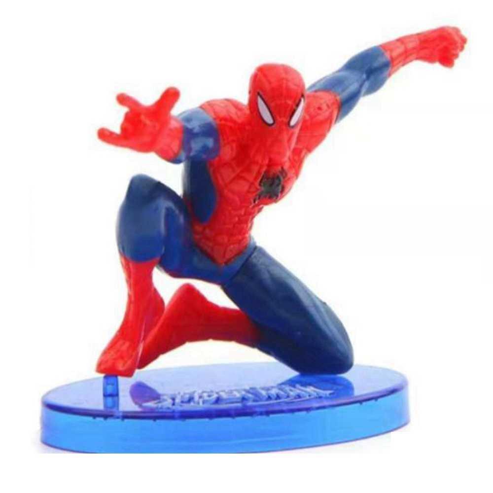 1 piezas de dibujos animados spiderman figuras de acción con la base super héroe siete tipos