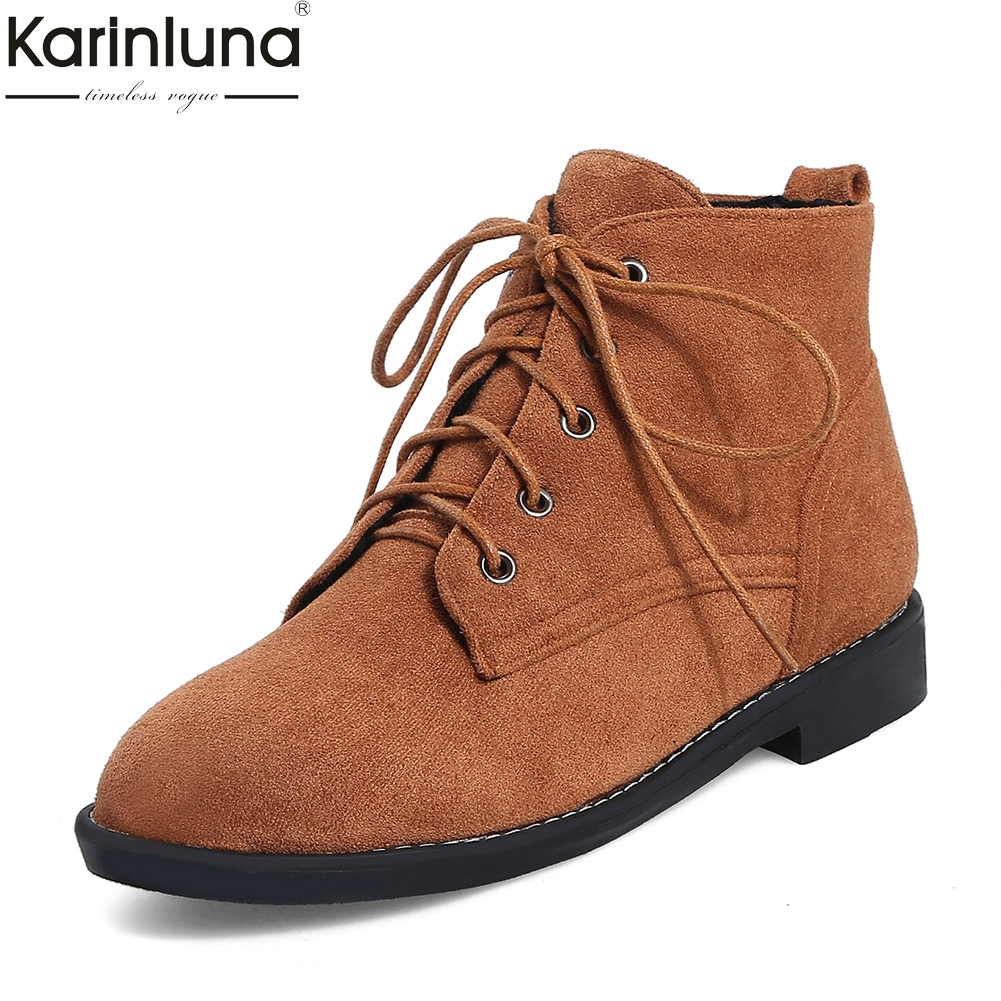 KarinLuna 2018 Fashion Western Boots Lace Up Women Shoes Woman Boots Hot Sale Platform Ankle Boots Shoes Woman Booties zobairou hot design suede ankle riding boots women western cowboy shoes woman fashion real genuine leather dicker boots 34 41