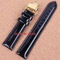 12mm 14mm 16mm 18mm 20mm Correa de Reloj Banda de acero de Oro Negro De Cuero liso Brillante departamento broche de moda relojes de marca