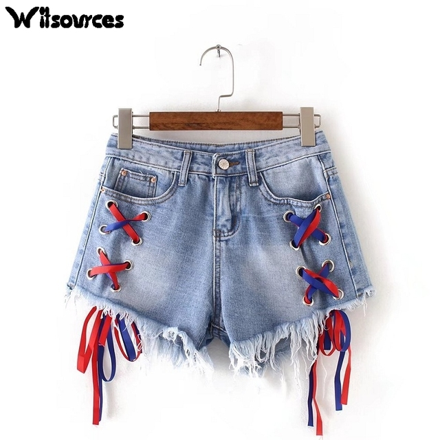 Witsources Jeans Shorts Women 2017 New Novelty Low Waist Ribbon