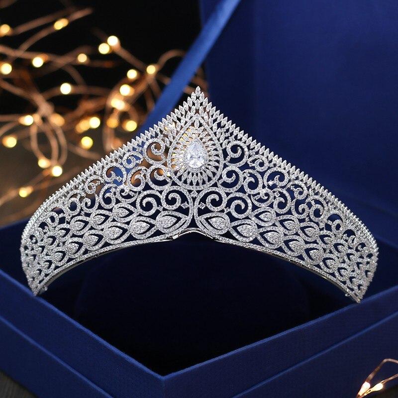 все цены на Jonnafe Fashion Full Cubic Zircon Wedding Hair Crown Women Accessories White Gold Princess Tiara Bridal Headpiece
