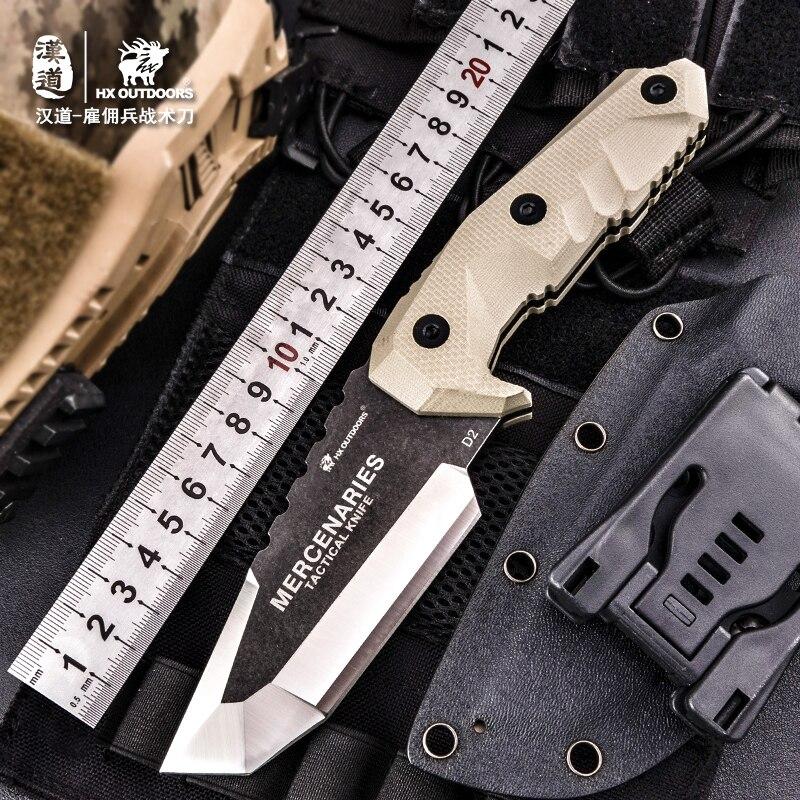 HX EXTÉRIEUR D2 Acier Lame Fixe Couteau de Chasse de haute dureté de Survie En Plein Air Couteaux & Gaine Pour la Randonnée Offre Spéciale auto défense à