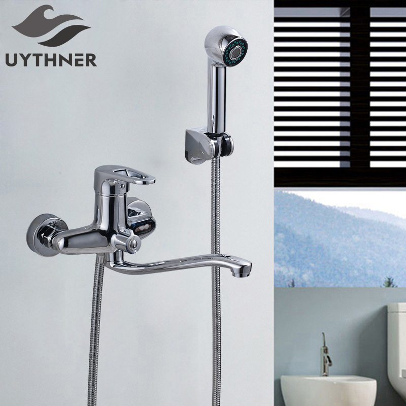 Uythner Classic Wall Mounted Solid Brass Chrome Bathroom Shower Faucet & Bathtub Faucet Mixer Tap Single Handles thermostatic bathroom shower faucet solid brass bathtub mixer tap chrome finish wall mounted