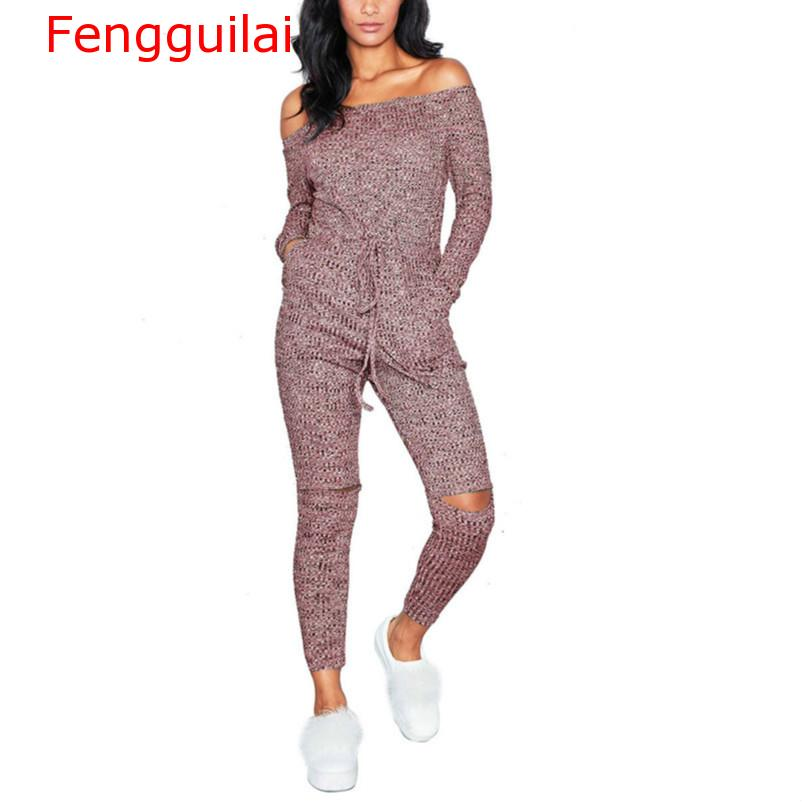 Women   Jumpsuit   2019 Autumn Winter Sexy Off Shoulder   Jumpsuits   Women Long Sleeve Casual Rompers Knitted Hole Female Elastic Waist