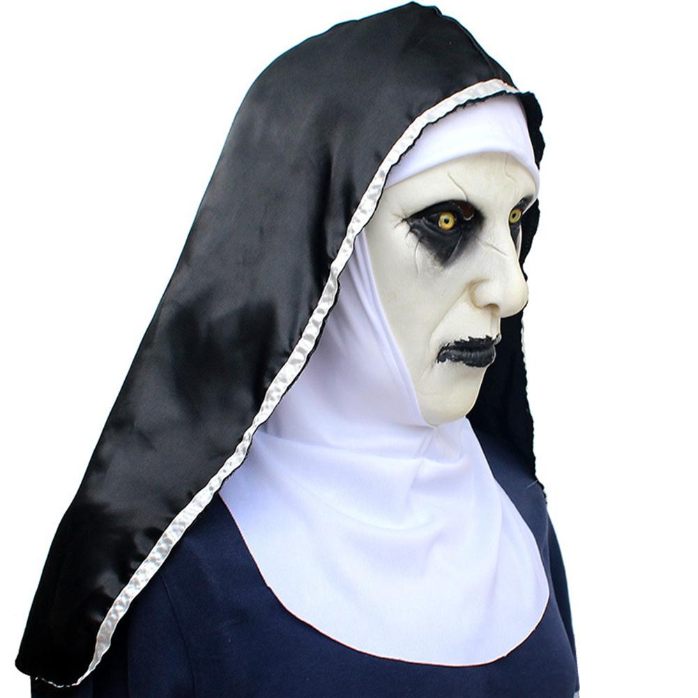 Carnival Halloween Theme.Nun Mask Scared Female Face Wig Celebrations Halloween Theme Party Cosplay Carnival Nocity Com