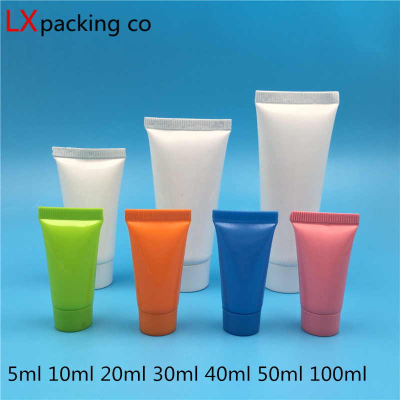 100 Pcs Free Shipping 5 10 20 30 50 100 Ml Empty White Plastic Tube Bottles Shampoo Cream Sample Empty Cosmetic Containers