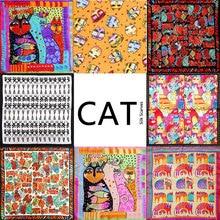 100 Silk Scarf Women Scarf Cat Scarf 2017 Foulard NeckerChief Animal Silk Bandana Small Square Silk