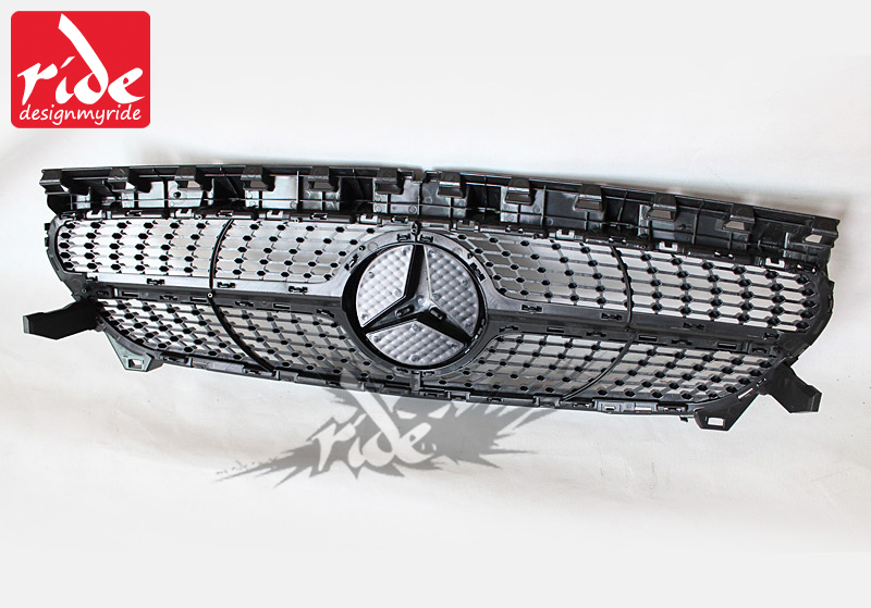 W117 Diamond Front Grille ABS Silver For MercedesMB CLA Class W117 Cla180 Cla200 Cla250 Cla45 Without sign Front Grills 2014 in in Racing Grills from Automobiles Motorcycles
