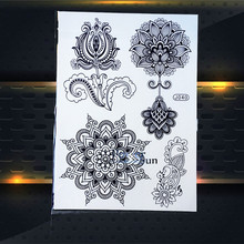 1PC Large Waterproof Black Mehndi Flower Tattoo Indian Women Henna Fake Tattoo Hand Foot Painting Temporary Tattoo Sticker PBJ40