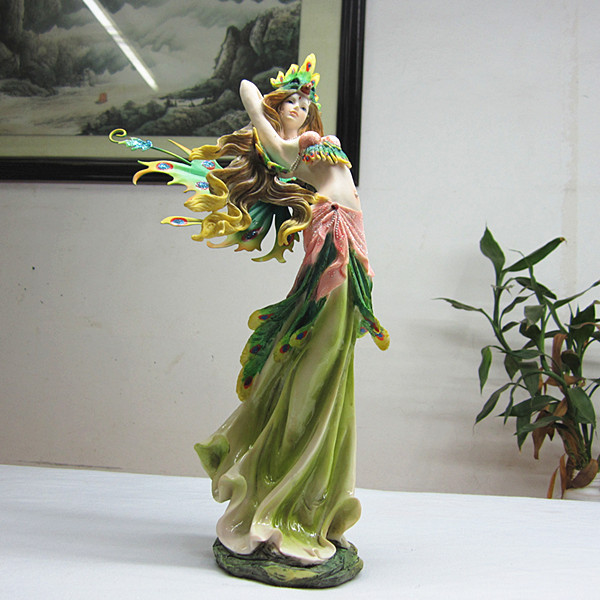 Q Ehre Fairy Engelfiguren Harz Grün Angel Garten Haus Ornamente