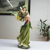 Q glory Fairy Angel Figurines Resin Green Angel Garden House Ornaments Miniature Garden Flower Beautiful Girl