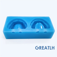 1set Silicone Blue Mold Mould of Edentulous Jaw Complete Cavity Block Dental Plaster Model with hole