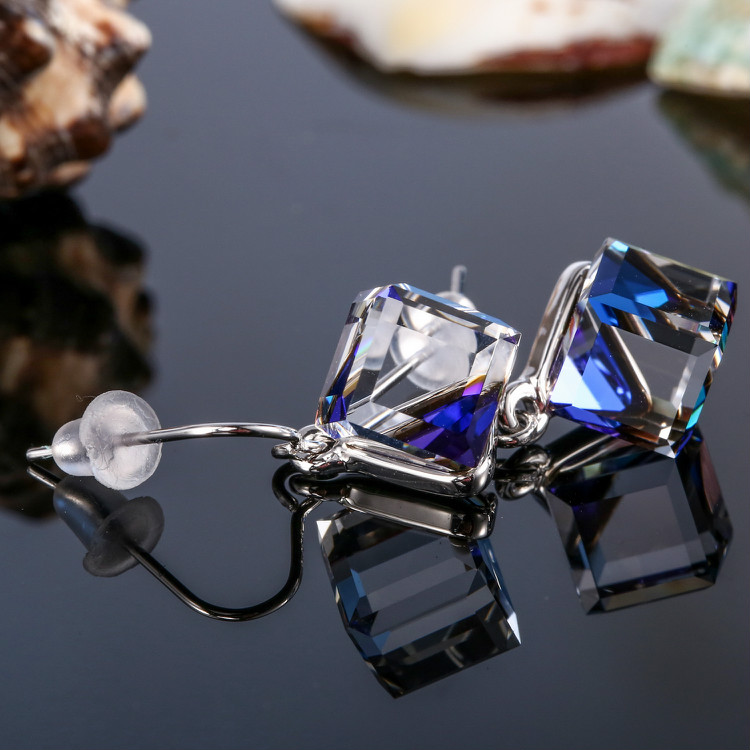 HTB1i5G.bv1H3KVjSZFHq6zKppXaN Warme Farben Crystal from Swarovski 925 Silver Earrings Drop Earring Square Cube Dangle Earring Fine Jewelry Gift Lady Brincos