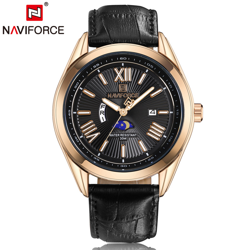 Naviforce Men Quartz Analog Auto Date Day Watches Leather Band Luminous Hands Fashion Casual Business Moon Phase Wristwatch 9108 horn shark sport watch auto date day display black case dial luminous hands leather band quartz men wristwatch timepiece sh359