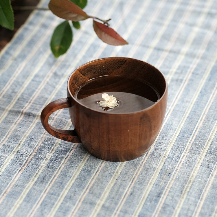 Japan Contracted with A Handle of Coffee Cup A Cup of Jujube Wood Whole Wood Cup