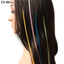 DELICE 5 Strands/Pack Pure Color Pink Purple Grizzly Straight Synthetic I-Tip Feather Hair Extensions + Micro Silicone Beads