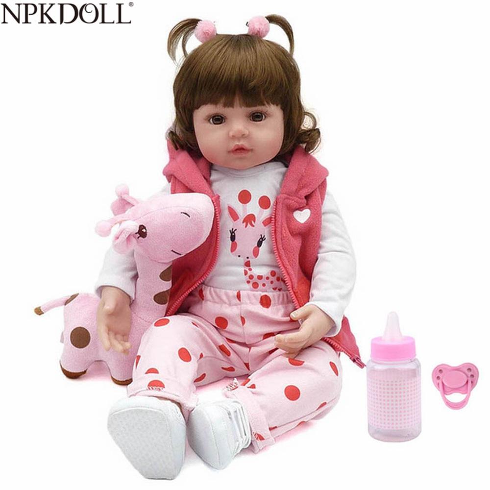NPKDOLL 47cm 57cm Baby Reborn Doll Silicone Adorable Menina Boneca Bebe Lifelike Real Girl Doll Reborn