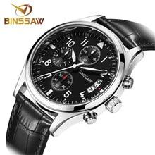 BINSSAW Mens Relojes de Primeras Marcas de Lujo Reloj de Cuarzo Hombres de Acero Inoxidable 100 m Impermeable Del Deporte Relojes Militares Relogio masculino