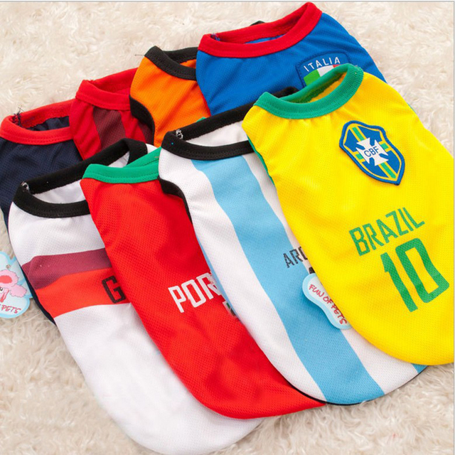 e114e4638 2018 Pet Dog Soccer Jersey Cool Spring Summer Breathable Dogs Vests Puppy Outdoor  Sportswear Football Clothes For Pet XS-XXL