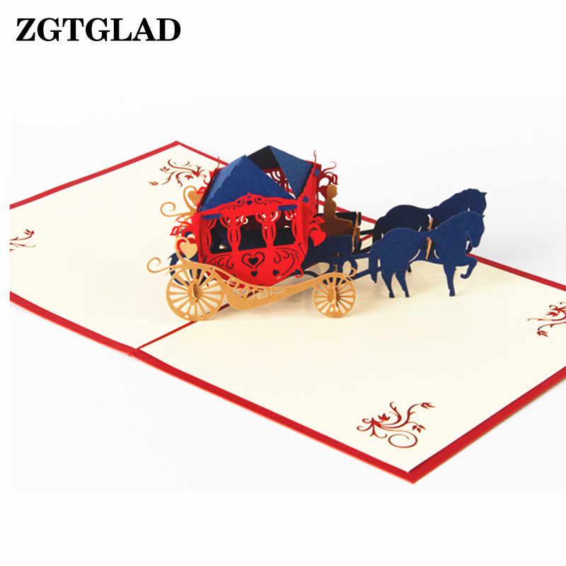 ZGTGLAD 3D Vintage Carriage Gift Cards Pop Up Custom Laser Cut Postcards Perfect Party Supplies