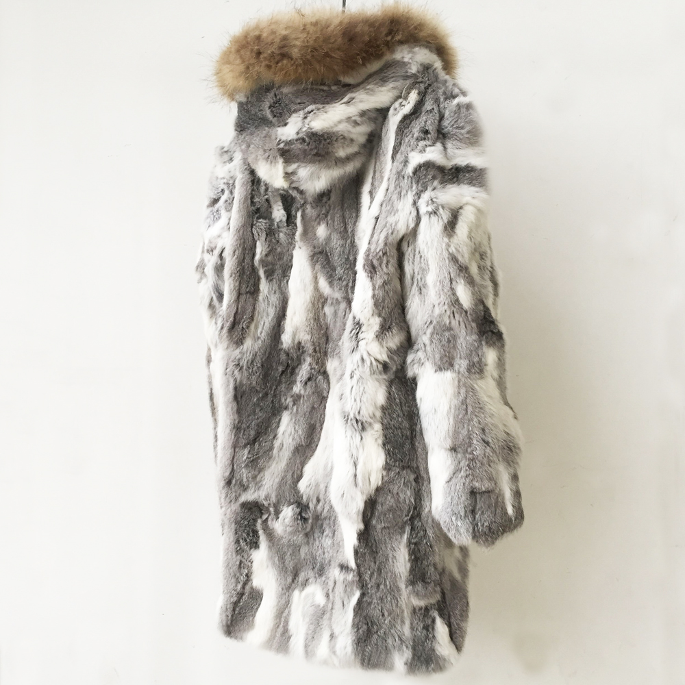 Big Size Plus Hooded Luxury Real Fur Long Coat Fur Women Rabbit Fur Jacket Natural Raccoon Fur Collar Overcoat New Winter