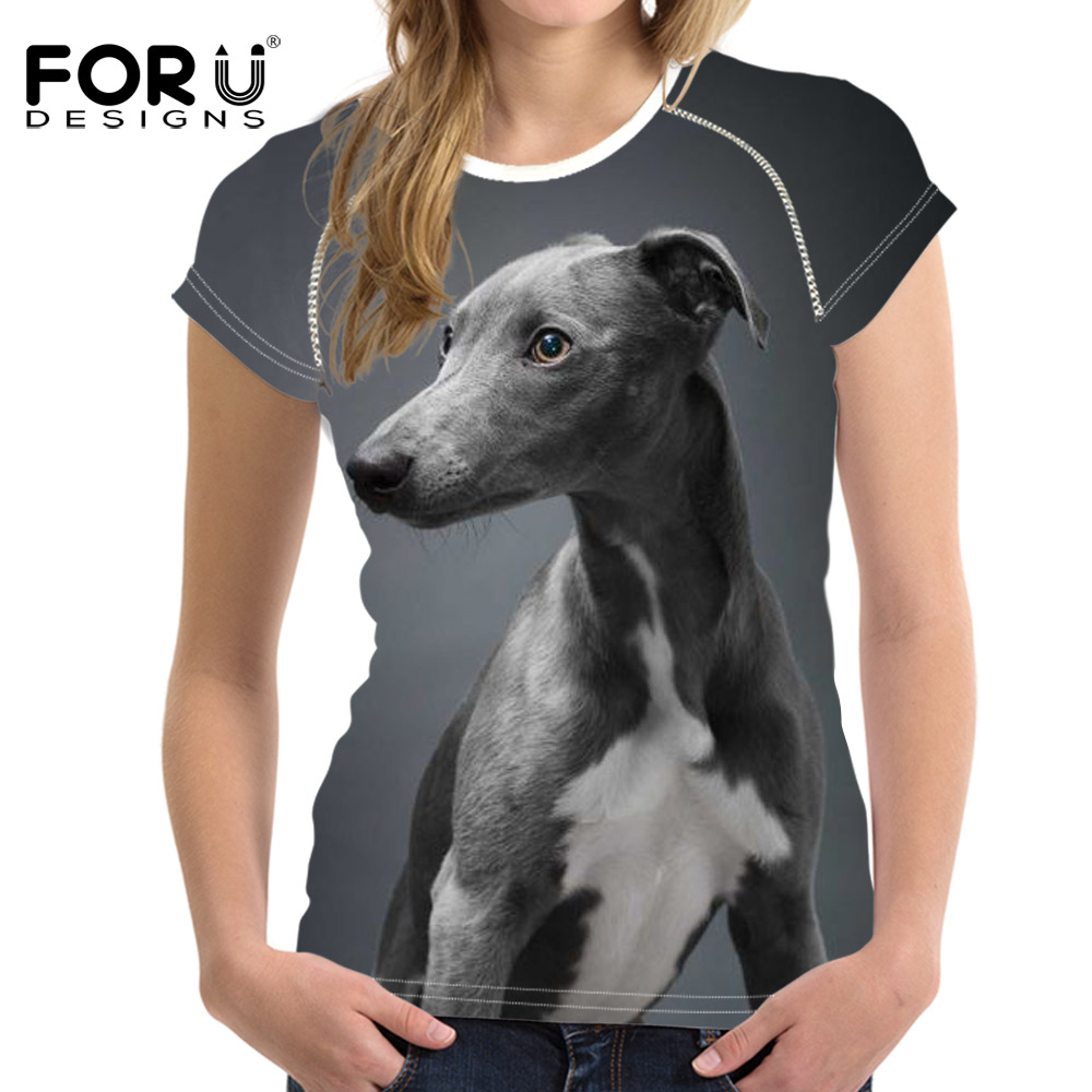 FORUDESIGNS T Shirt Women Dark Grey Italian Greyhound Dog Harajuku for Casual O-neck Woman Tee Shirts Femme Animal Clothing Tops ...