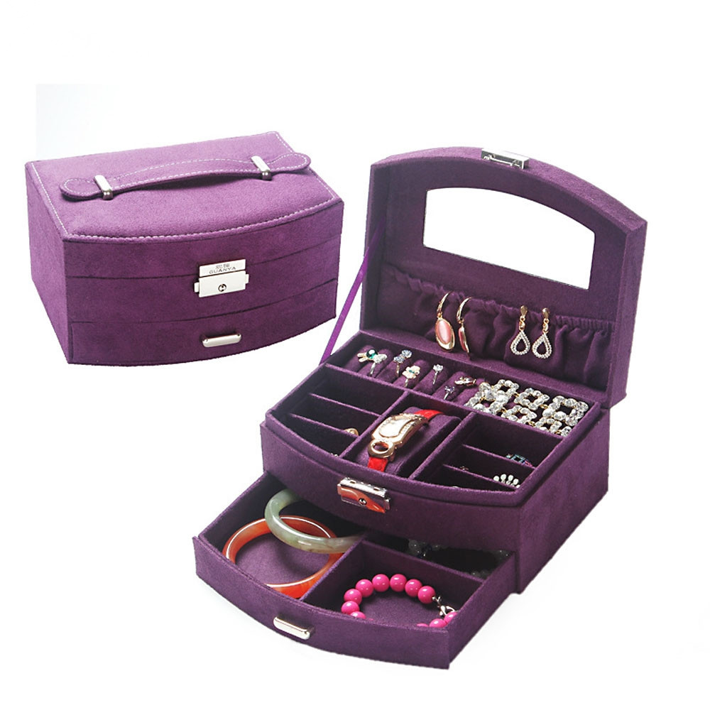 Double Layer Jewelry Display Box Organizer Carrying Case Portable Jewelry Case for Rings Necklaces Earrings Amazing Gift 2017