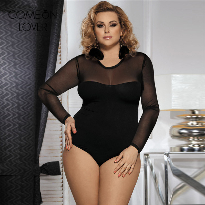 0c9ac51a27cd6 Autumn style swimwear mesh bodysuit plus size 3XL black teddy lingerie mini  jumpsuit hot long sleeve sheer bodysuit RL80373