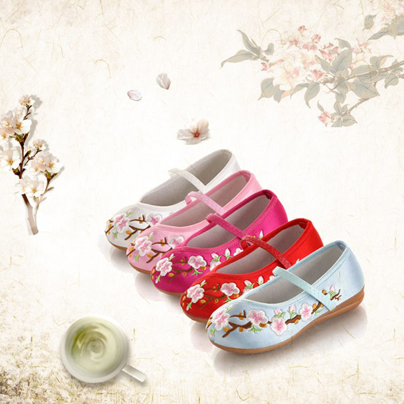JUFOYU 2018 New Kids Embroidered Shoes Girls Tendon At the End Of Non-Slip Shoes Students National Wind Performance Shoes slip-on shoe