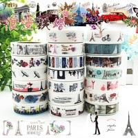 15 MM * 10 M De Mode Paris Washi Bande Ensemble de 20 pcs, tour eiffel Vintage Voyage Planificateur bande d'artisanat, Paris Carte Faire Déco bande