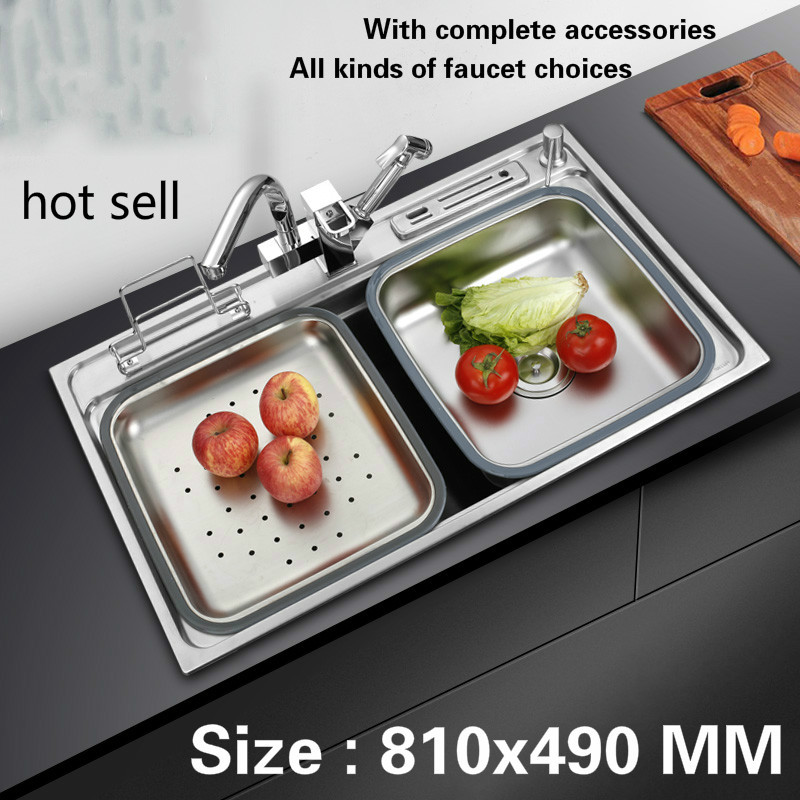 Free shipping kitchen sink 0.8 mm thick food grade 304 stainless steel ordinary single slot vogue durable hot sell 810x490 MMFree shipping kitchen sink 0.8 mm thick food grade 304 stainless steel ordinary single slot vogue durable hot sell 810x490 MM