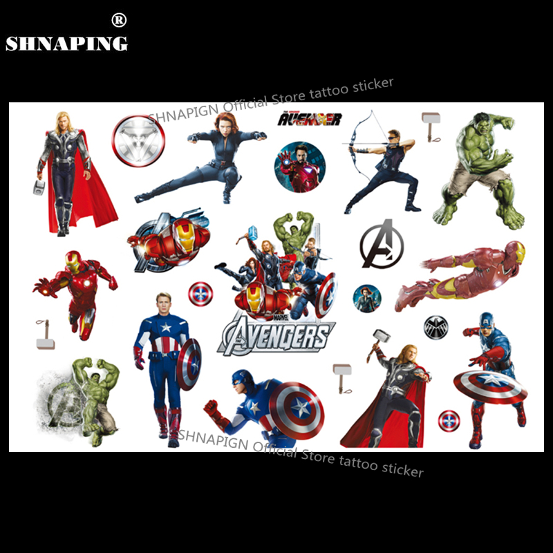 SHNAPIGN Super Hero Union Barn Midlertidig Tattoo Body Art Flash Tattoo Stickers 17 * 10cm Vandtæt Bil Styling Henna Sticker