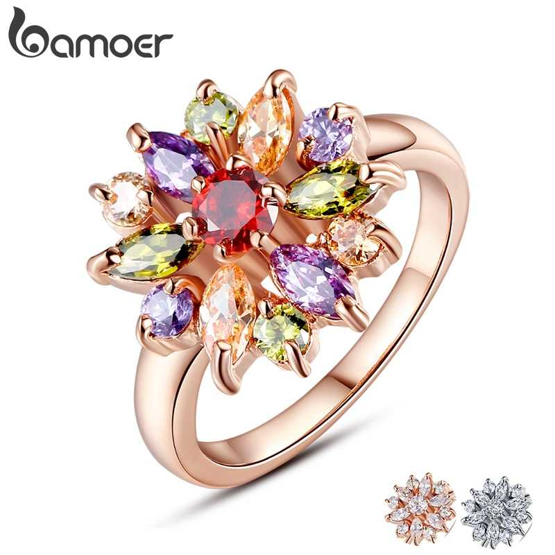 BAMOER 3 Colors  Rose Gold Color Finger Ring for Women with AAA Multicolor Cubic Zircon Wedding Berloque #6 7 8 9 JIR031