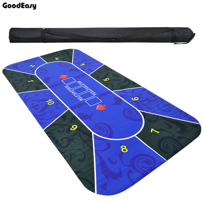 2.4m Texas Hold'em Rubber Mat Tablecloth Poker Board Game Pokerstars Table Top Digital Printing Suede Layout Poker Accessories 10 players rotary poker set rubber square blue texas hold em poker table mat poker gaming table cloth with shoulder bag