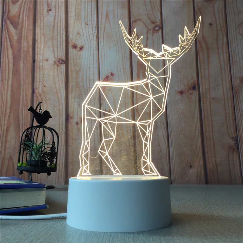 Mrosaa Creative Night Light 3D Elk/Santa Claus 3Colors Changing Night Lamp Living Room Decorative Lamp Best Gifts for Kid Friend